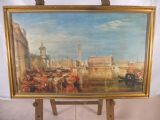 Large Gilt Framed Canvas - Canaletto Style Italian Scene